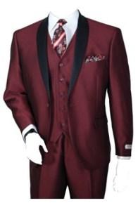 Men's Three Piece Single Button Slim Shine Evening Suit (Dark Burgundy) Image