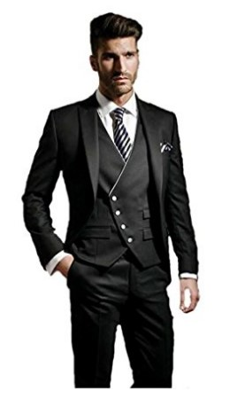 New Style Three-piece Mens' Party Wedding Suit Black Full Image