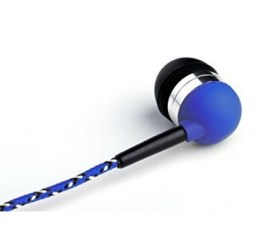 Tweedz Durable, Tangle-free Blue Earbuds - Earphones with 100% Braided Fabric Wrapped Cords and Noise Isolating Ear Buds Image