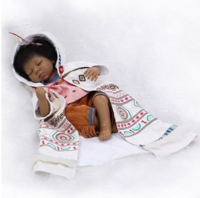 NPKDOLL Reborn Baby Doll Indian Style Black Skin 22inch 55cm Silicone Vinyl Magnetic Mouth Lifelike Boy Girl Toy Totem Cloth Eyes Close A1US