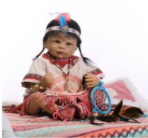 Native American Indian Black Soft Vinyl Reborn Baby Doll Collection