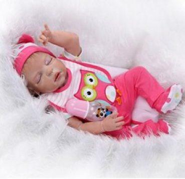 Full Silicone Body Reborn Baby Lifelike Sleeping Little Girl Doll