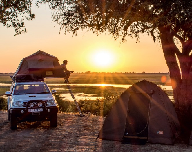 Watch the sun disappear into the Chobe River from the riverfront campsites at Ihaha.