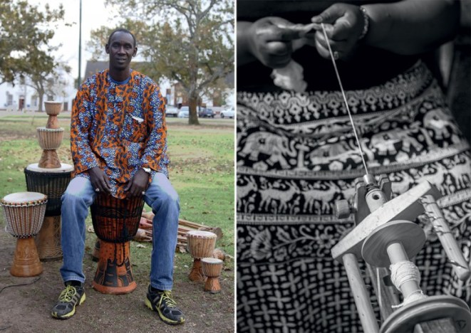 Babakar Diop wears on of his made-to-order shirts while silk is spun into beautiful goods by staff at African Silks. - Photo by Vuyi Qubeka