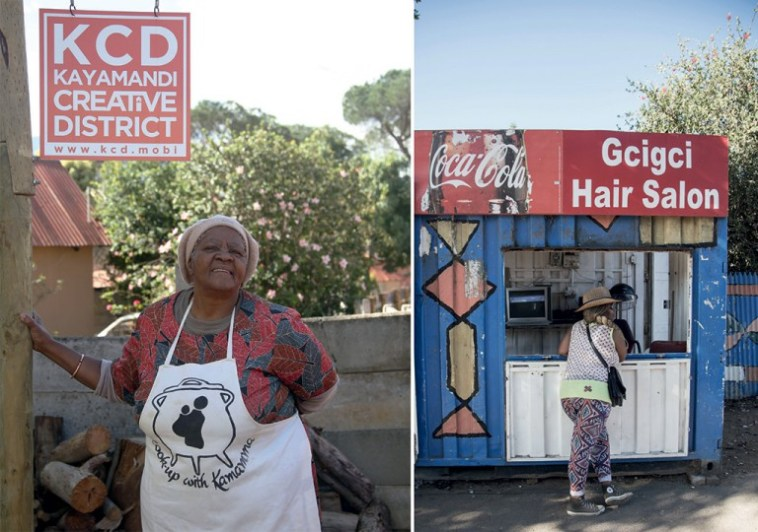 Mamma Swartbooi outside her home in Swartbooi Street and guide, Thembi Koli chats to a friend at a hair salon in Kayamandi. - Photos by Vuyi Qubeka