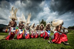 In Rwanda, this dance is traditionally perfomed when welcoming men back from battle. I took this image from ground-level using an off-camera flash. - By Nelis Wolmarans, Cape Town Canon 1Dx, Canon 16-35mm f/2.8L II, ISO 1600, f/8, 1/2000 sec