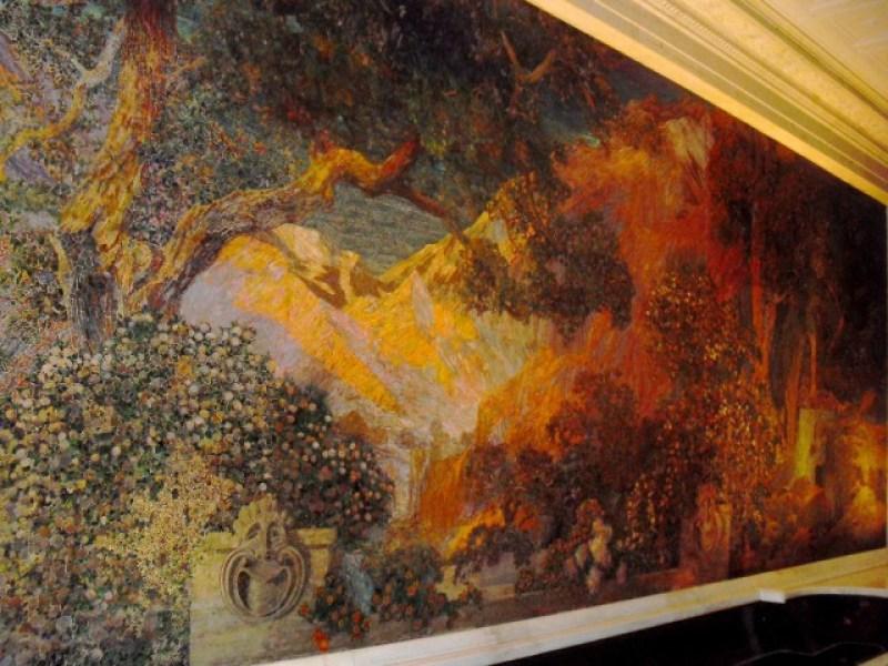 trees, mountains, vivid gardens of Maxfield Parish painting rendered into mosaic by Tiffany Studios in Philadelphia, PA #visitphilly #PATravelHappy @GetawayMavens