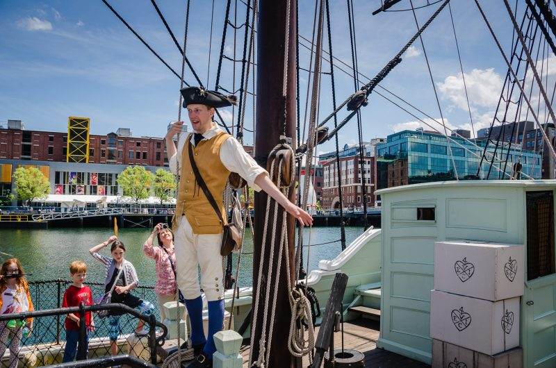 Reenactor calling for revolution on a tea ship replica at the Boston Tea Party Museum in Boston, MA. #history #USA @GetawayMavens