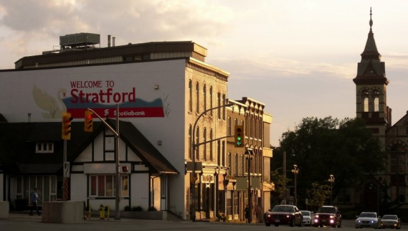 "Mural with sign ""Welcome to Stratford"" in Canada = #Stratford365 @GetawayMavens"