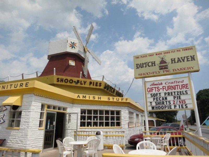 Best Shoofly Pie in Lancaster County - Dutch Haven with windmill on top