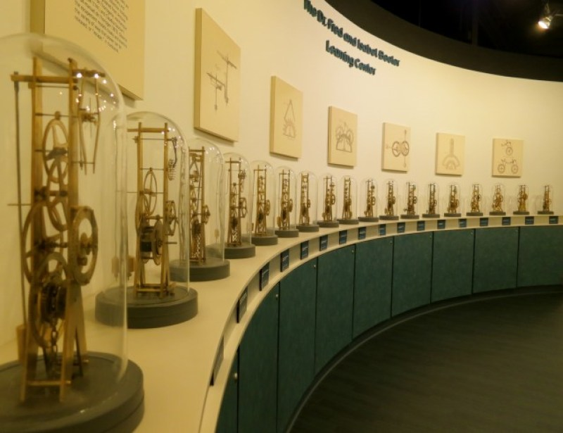 Array of clock mechanics at National Watch and Clock Museum in PA