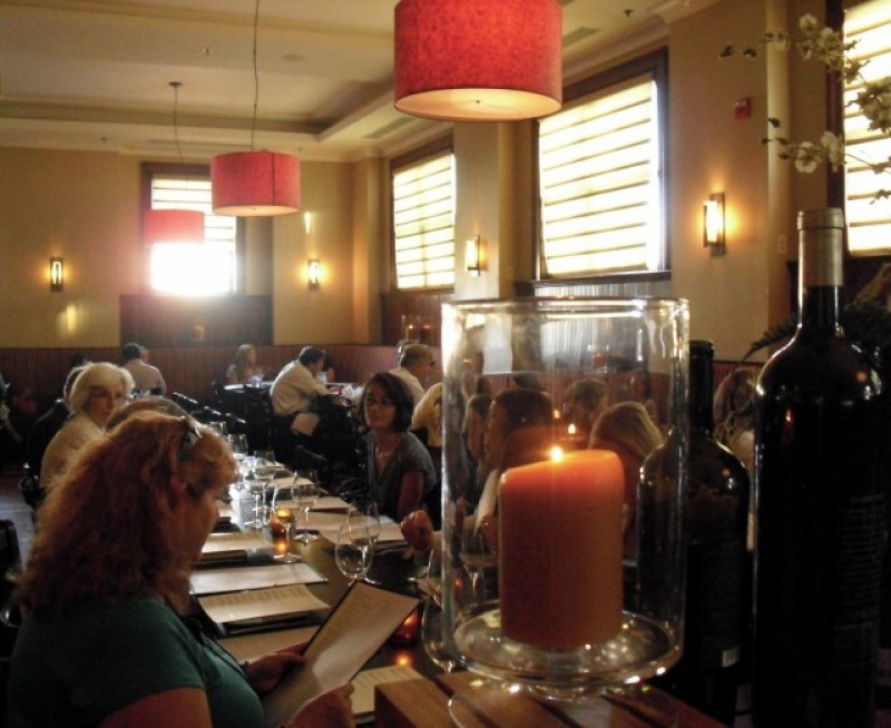 Clubby, masculine interior of Wood Burning Fireplace Pizza hotspot in Liberty Tavern, Arlington VA