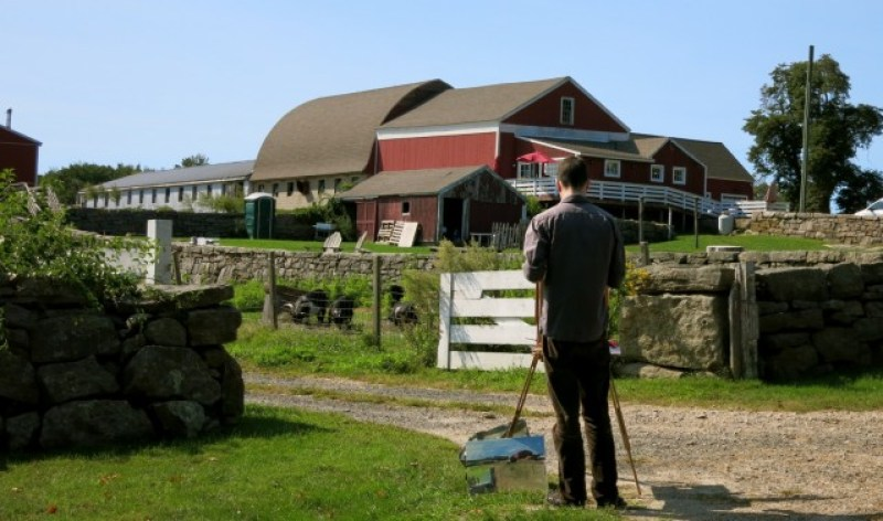 Ashlawn Farm Coffee - Artist captures barn on canvas - Lyme, CT