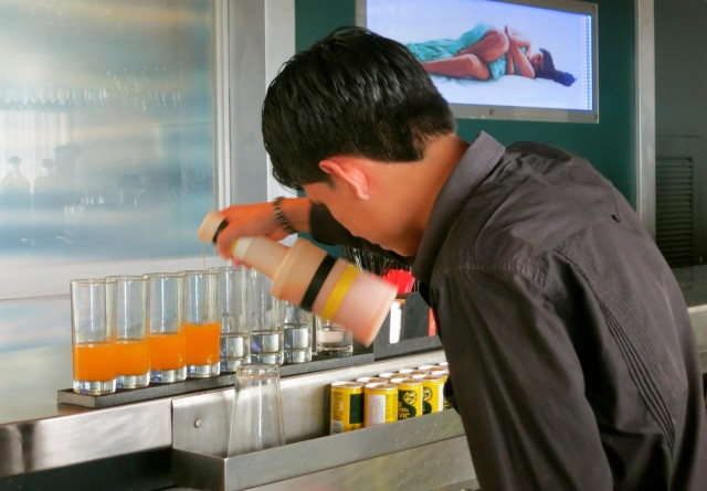 Preparing Drinks for Lima Gourmet Co. Nighttime Tour, Cala Restaurant, Lima Peru