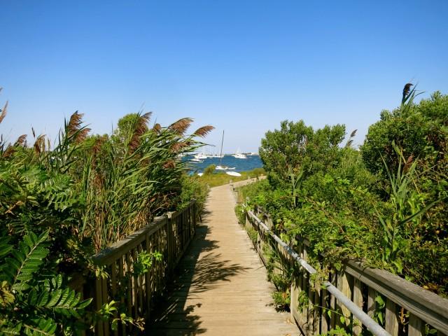Boardwalk from Corn Neck Road to Great Salt Pond