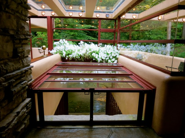 Fallingwater hatch to river beneath house