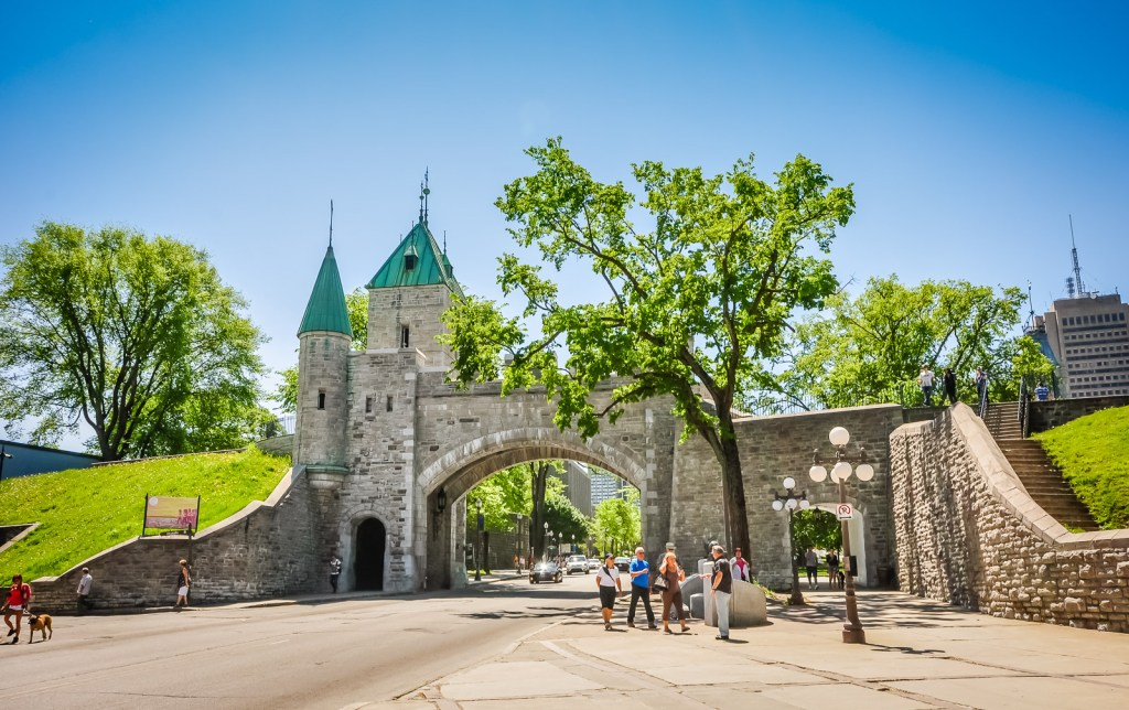 Quebec City ramparts on a sunny Spring day.