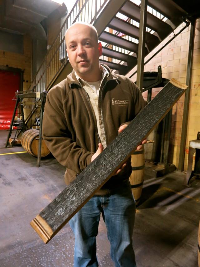 Master Distiller Brian Prewitt talking char levels on inside of oak , A. Smith Distillery, Fredericksburg VA