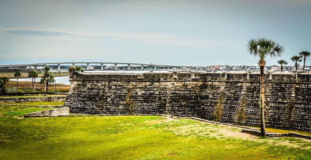 Bridge into history at Castillo de San Marcos National Monument, the oldest masonry fort in the continental US. St. Augustine, Florida