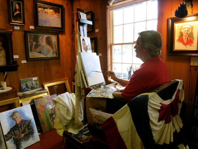Artist Craig Pursely at his easel, Bath NH