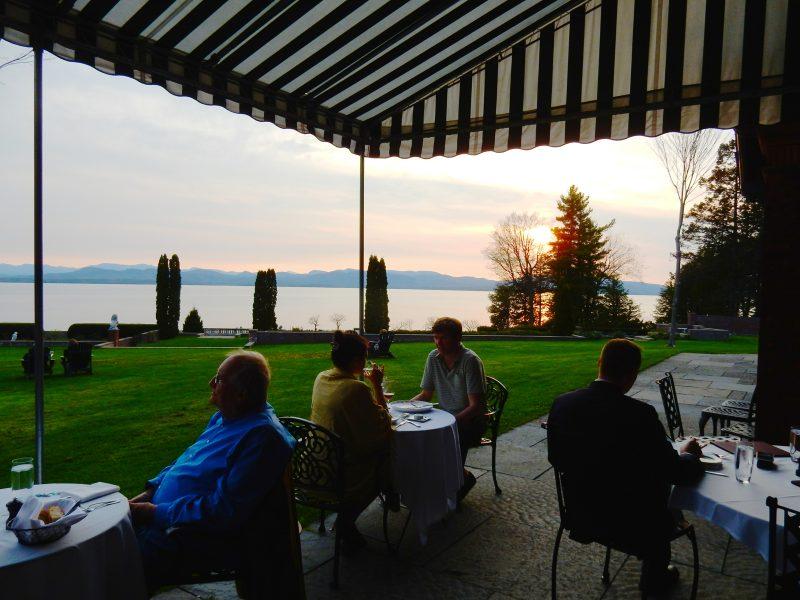 Inn at Shelburne Farms Restaurant at sunset, VT