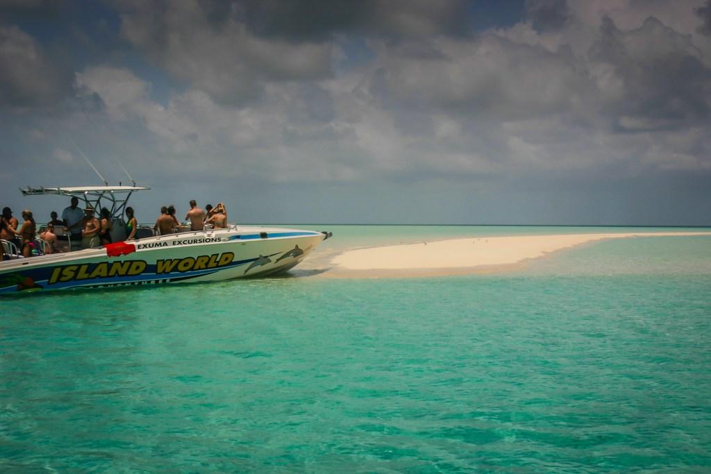 Powerboat docked on sandy spit at Nassau Bahamas - Exuma Excursion