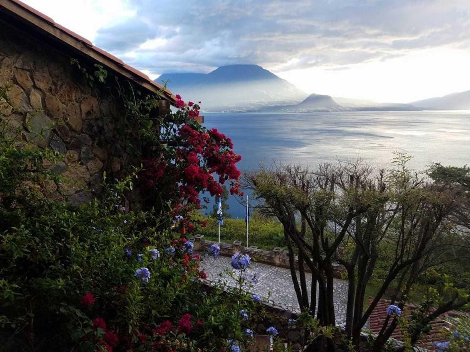Lake Atitlan and volcanoes from Hotel Casa Palopo