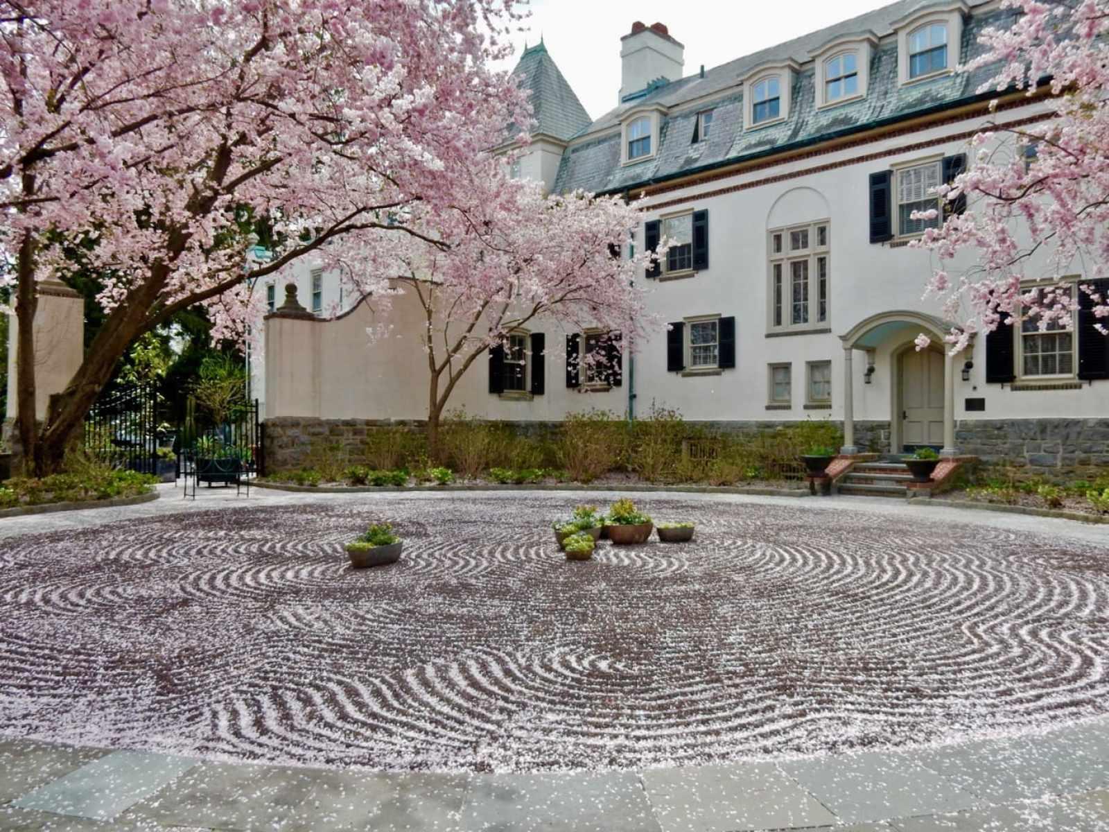 Imaginatively raked gravel driveway Chanticleer Garden Wayne PA