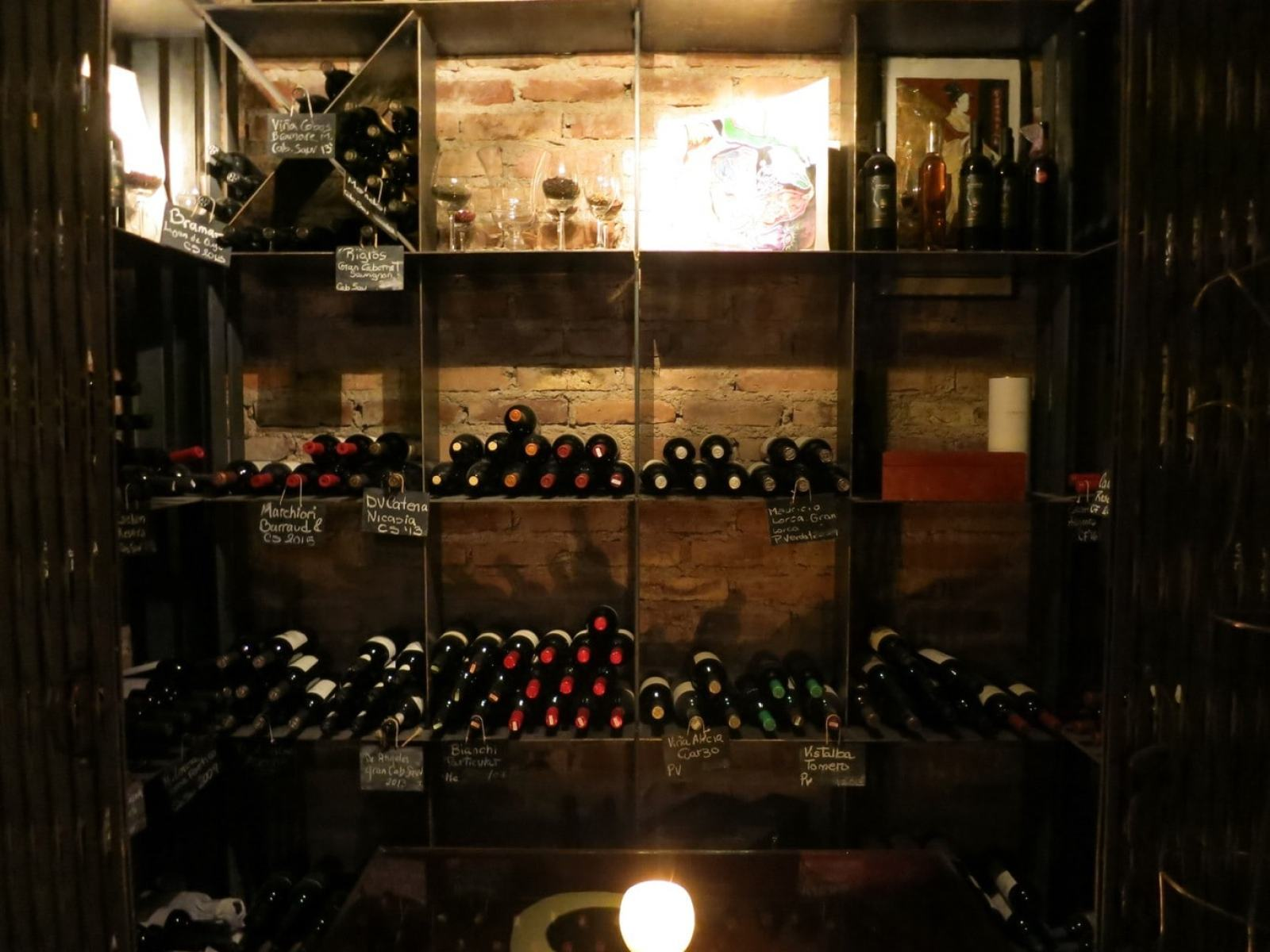 Stocked wine bottles Cavas Wine Lodge Mendoza Argentina