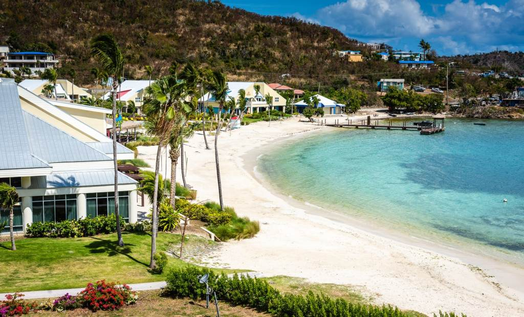 Restaurant and landscaped grounds facing beach at Wyndham Margaritaville St. Thomas