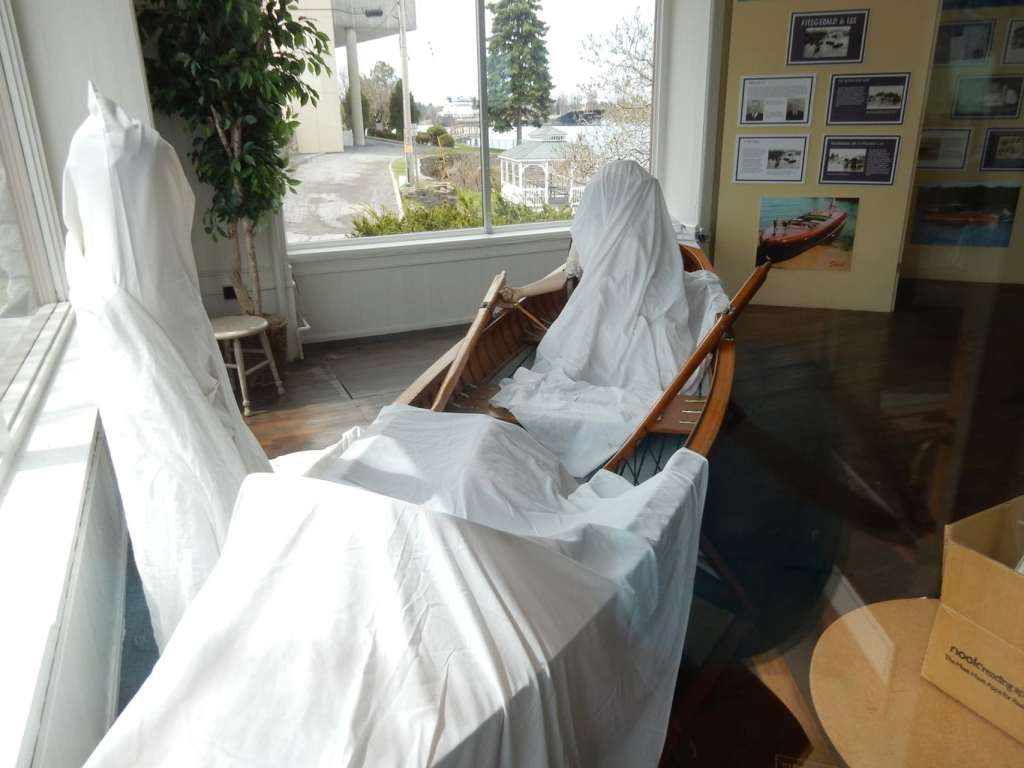 Sheets cover displays in Cornwall Bros. Store and Museum, Alexandria Bay NY