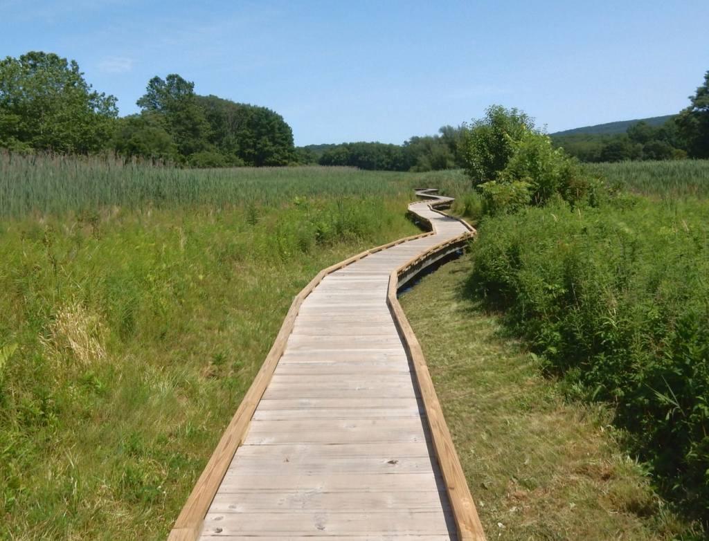 Appalachian Trail Boardwalk through marsh and fields in New Jersey