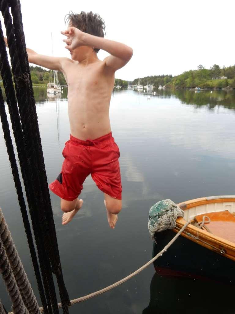 Swimming of Windjammer Schooner