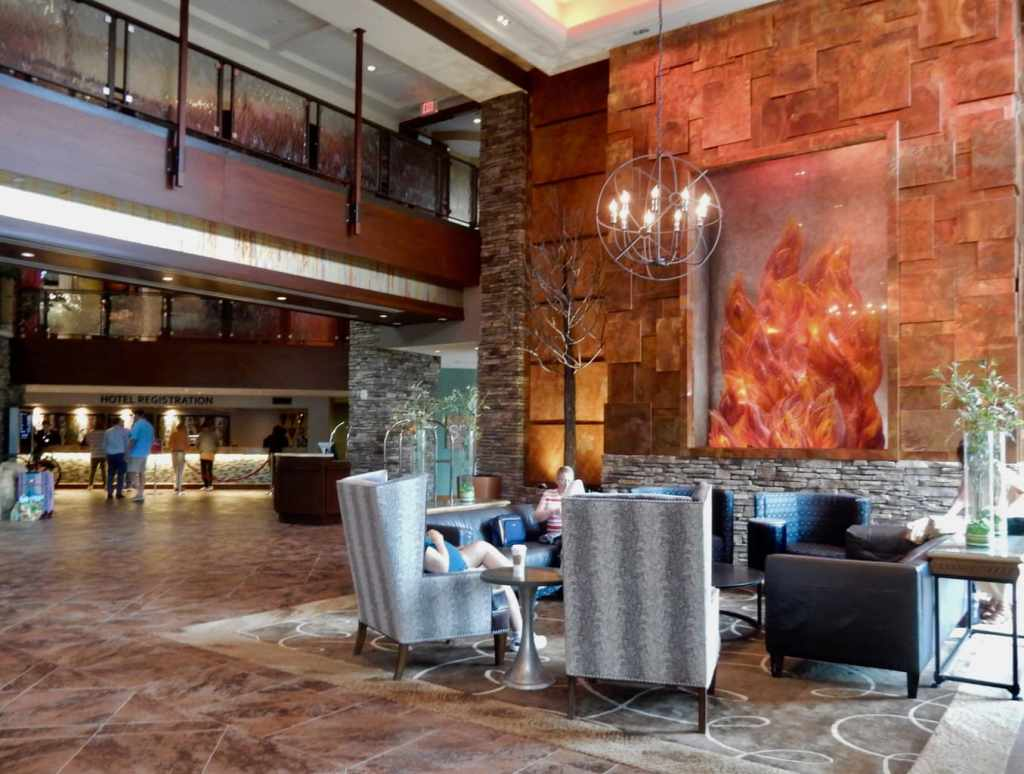Reception area of Mount Airy Casino Resort with Flame Glass Wall Sculpture