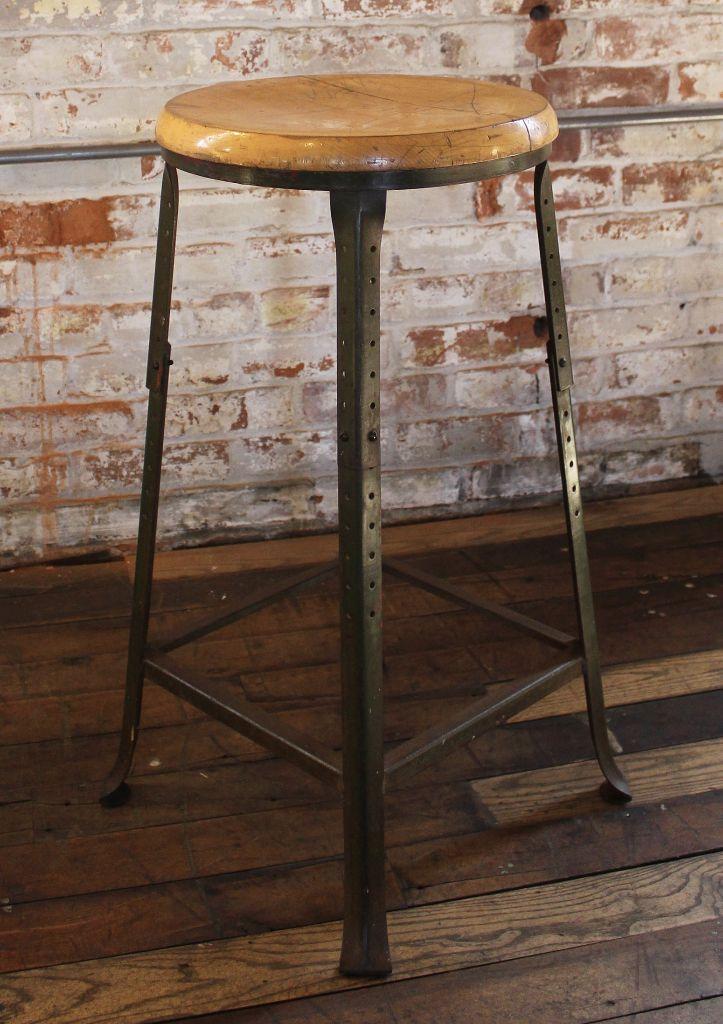 Vintage Industrial Backless Bar Stool  Wood and Metal  Get Back Inc