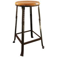 Vintage Industrial Backless Bar Stool - Wood and Metal ...