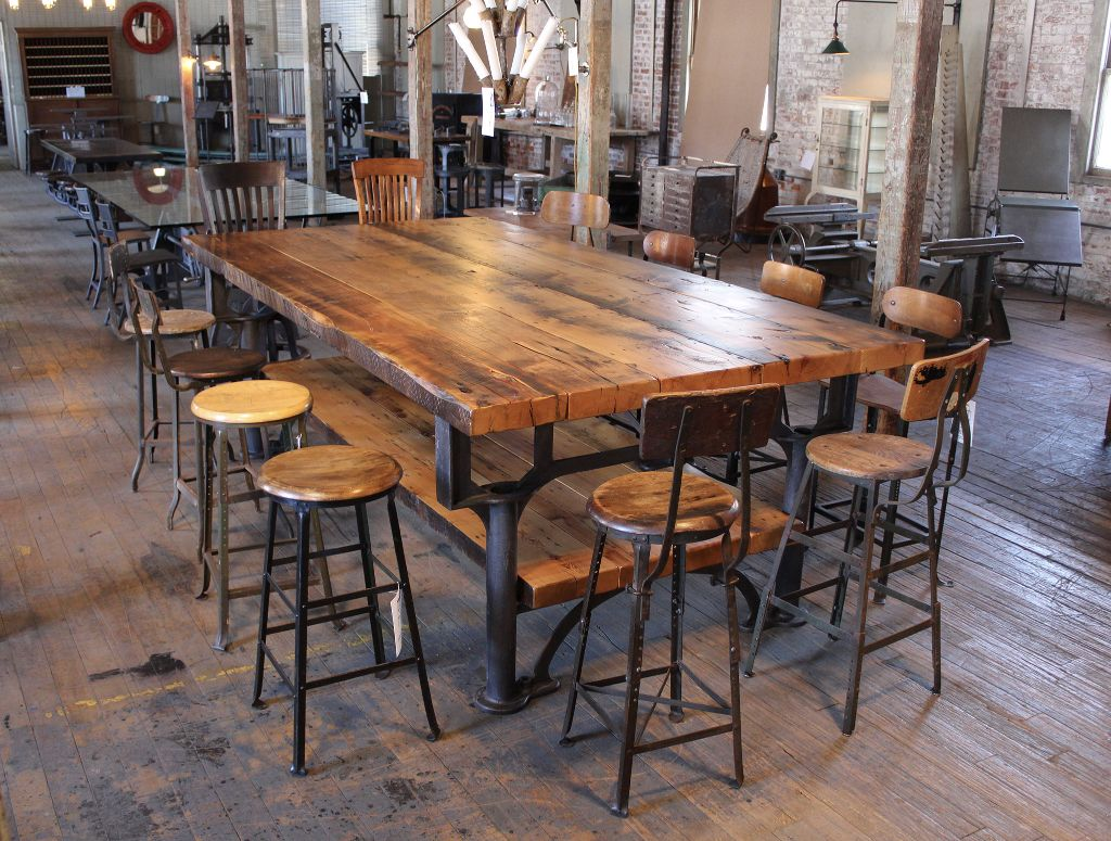 industrial kitchen table cabinet design software vintage cast iron leg and reclaimed wood plank