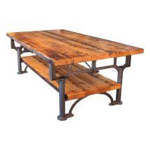 Vintage Industrial Cast Iron Leg & Reclaimed Wood Plank