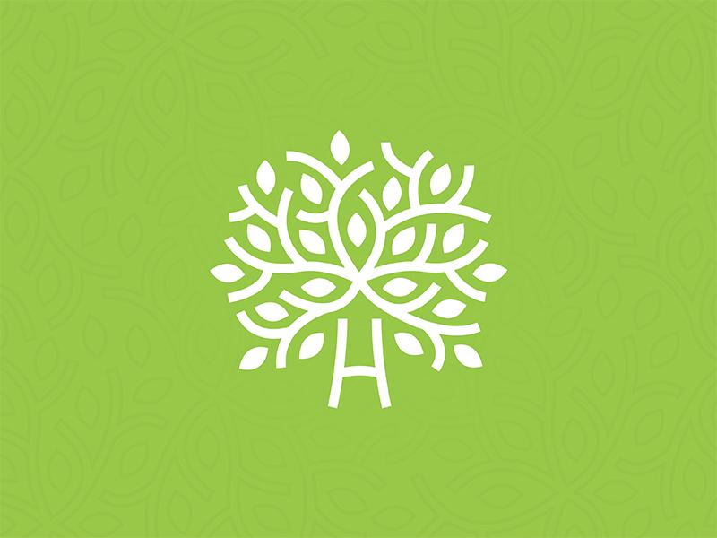 Green healing tree logo