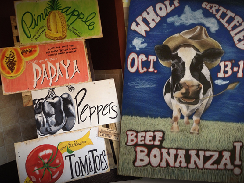 Cow and Fruit chalk Signs