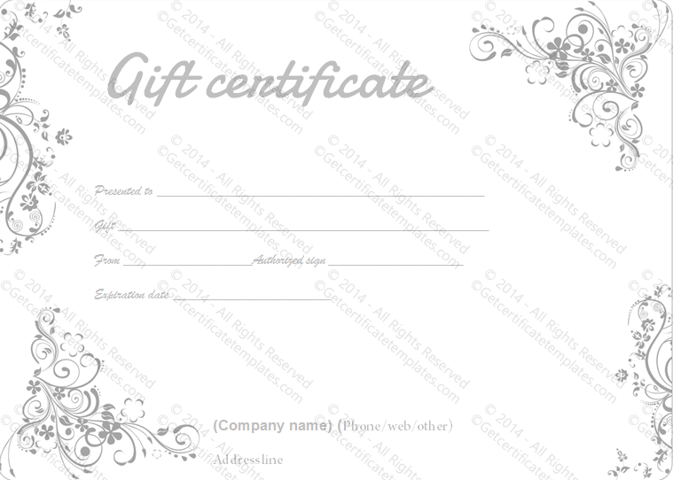 Gray Swirls Gift Certificate Template