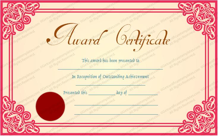 award format template