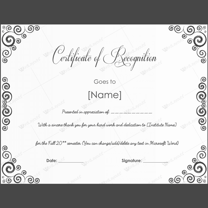 Printable Certificate of Achievement Template