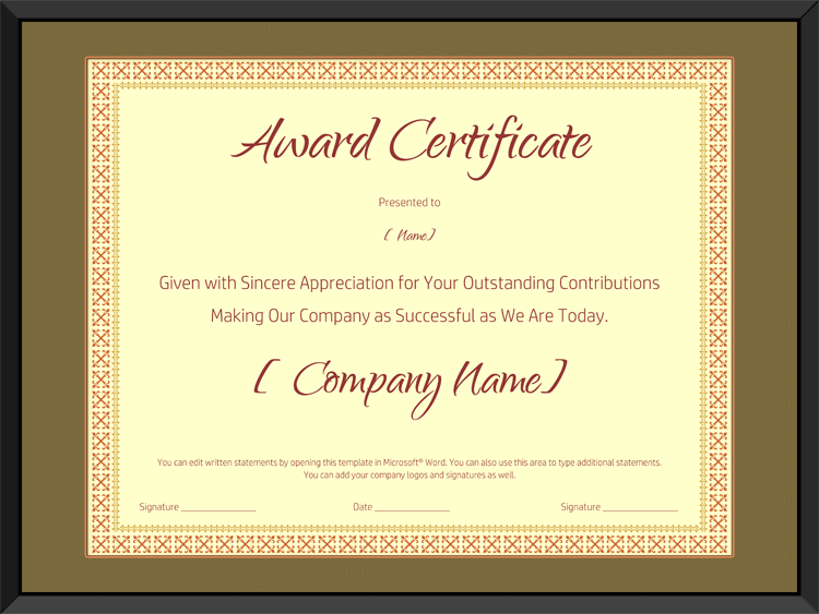 Award on Retirement Certificate Template  Editable and