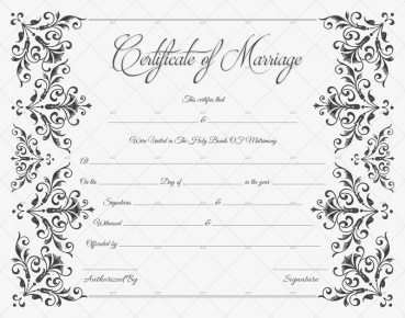 Vintage Flowers Marriage Certificate Template