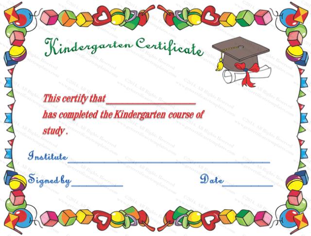 Kindergarten Graduation Certificate Template Free Download