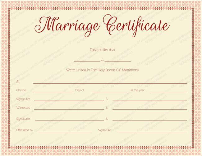 fake marriage certificate printable