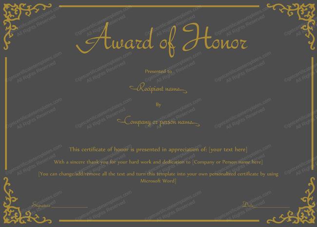 Award Of Honor Template Mate Black Color