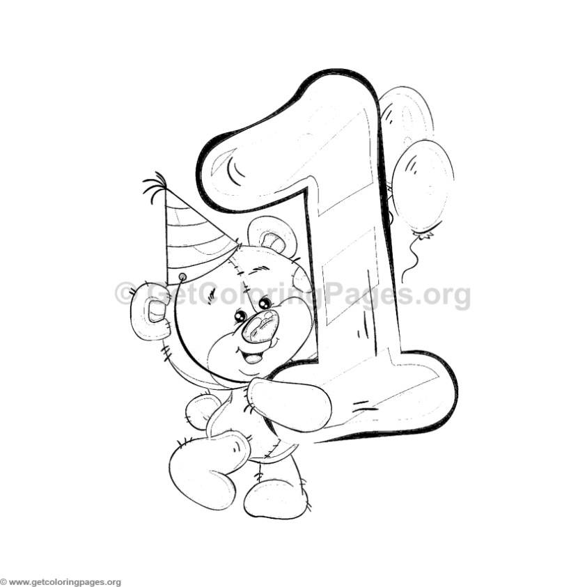 Teddy Bear Number One Coloring Pages