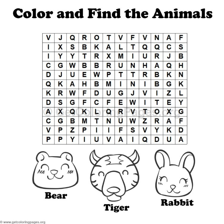 Animal Word Search Coloring Pages #10